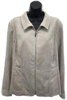 NWT Christopher & Banks Narrow Corduroy Jacket Sz L Large Tan Zip Up MSRP $50