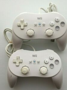 Lot of 2 Nintendo Wii White Classic Pro Controller RVL-005 OEM   TESTED