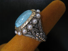 BARBARA BIXBY TURQUOISE DOUBLET CARVED PEARL RING SIZE 6 SS 18K FLOWER Gift