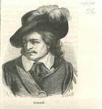 Oliver Cromwell 1599-1658 Londres Commonwealth républicain Grande GRAVURE 1883