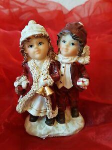 Figur Weihnachten Deko 10cm Weihnachtsdekoration, Figur, Mädchen u Junge NEU
