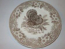 Queen's Myott Thanksgiving Turkey Brown and White Dinner Plate - New