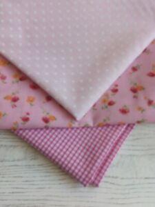 3 metres  Fabric Remnant  Bundle/Pink/orange/polycotton/ gingham/ shabby chic
