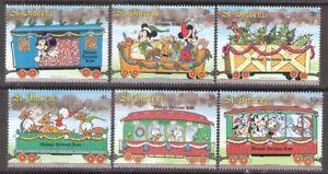 St Vincent 1988 Disney Christmas Trains Railroad Cars MNH (SC# 1121-1126)