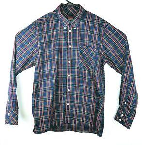 Merc London Mens L Button Down Shirt Neddy Long Sleeve Tartan Check Navy Blue Up