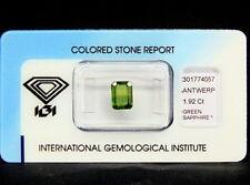 IGI CERTIFIED GREEN SAPPHIRE : 1,92 Ct Natürlicher Grün Saphir aus Thailand