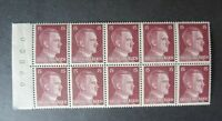 "GERMANY STAMPS  MINT   ""DEUTSCHES REICH""  HITLER BLOCK OF 10 W/SELVEDGE"