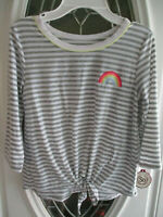 NWT SO Tie Front Tee 3/4 Sleeve Girls Size 12 Gray & White Stripes Rainbow