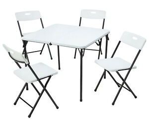 Mainstays 5 Piece Resin Plastic Card Table and Four Chairs Set, White.NEW