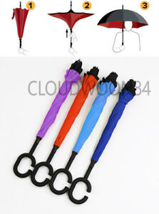 C Handle Double Layer Inverted Reverse Hand-free Upside Down Umbrella Windproof