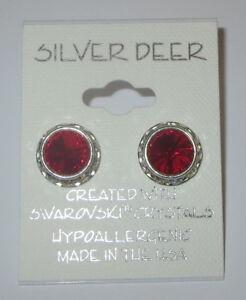 Red Rhinestone Rivoli Earrings 12mm New Silver Tone USA Made with Swarovski