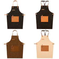 Denim Leather Strap Bib Apron Work Uniform Cook Barista Baker Bartender Bbq Chef