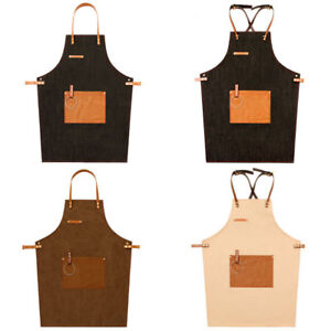 Denim Leather Strap Bib Apron Work Uniform Cook Barista Baker Bartender BBQ Chef