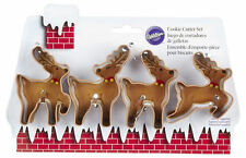 Reindeer 4 pc Metal Christmas Cookie Cutter Set from Wilton #5075 NEW