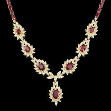 Certified Burma Ruby 24.10cttw and 2.15cttw diamond Yellow Gold 14KT Necklace