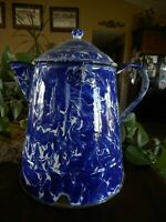 Antique Swirl Blue Enamel Coffee Pot Large Farmhouse country Decorating 12.5""
