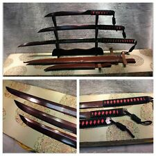 A SET OF HIGH QUALITY JAPANESE SAMURAI SWORD KATANA FOLDED STEEL RED BLADE #3994