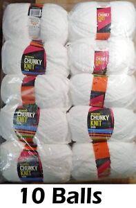 10 x Microfiber Knitting Chunky Yarn 3 Ply 100g White 100% Brand New