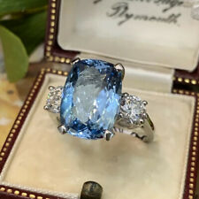 925 Silver Rings Oval Cut Aquamarine Charm Women Wedding Jewelry Gifts Size 6-10