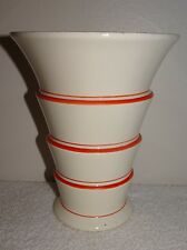 VILLEROY BOCH WALLERFANGEN MADE IN SAAR-BASIN ART DECO ORANGE SWIRL VASE