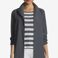 Eileen Fisher XL Gray Cotton Nylon Snap A-Line Lightweight Jacket Coat $398