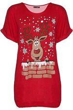 Womens Ladies Oversized Batwing Xmas Big Nose Reindeer Christmas Baggy T Shirt
