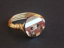 Gold Plated Crystal Wire Wrap Ring made with Swarovski Crystal Elements