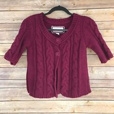 American Eagle Women Sweater Cotton Knit Cardigan 2 Button Short Sleeve Chunky S