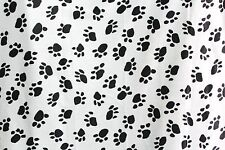 VELBOA FAUX FUR WHITE & BLACK PAW ANIMAL PRINT FABRIC SEWING POLY BY THE YARD