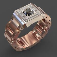 Filled Black Sapphire Ring Size 10 New listing Fashion Men/Women Rings 14k Rose Gold