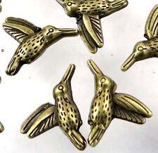 15 Hummingbird Flying Bird Charm Antique bronze Pewter beads 18x15mm