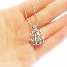 1pc Silver Hollow Cute Frog Alloy Locket Pearl Cage Charm Necklace 50cm Chain