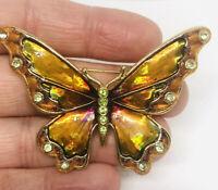Beautiful Monet Rhinestone Butterfly Brooch Iridescent Enamel Vintage Jewelry