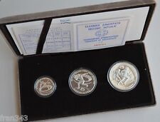 GRECIA GREECE 100 250 & 500 drachmai 1981 EUROPEAN GAMES 1982 - PROOF SET