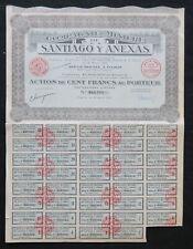 Action 1927 COMPAGNIE MINIERE DE SANTIAGO Y ANEXAS titre bond share 5