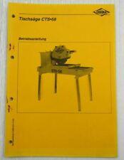Cedima CTS58 Tischsäge Bedienung Betriebsanleitung Ersatzteilliste 2000