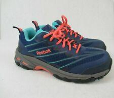 Reebok 1638 Women's Work Steel Toe Shoes Blue/Orange ASTM F2413-11 Size 8.5 M