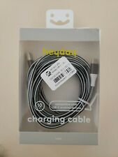 Heyday Charging Cable 10Ft Compatible With Usb-C Enabled Devices Black and Whit