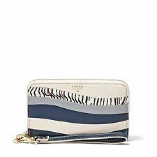 NEW-FOSSIL SYDNEY ZIP PHONE HERITAGE BLUE WHITE LEATHER WALLET CLUTCH WRISTLET