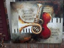 """OIL Painting- Guitar/ Brass/ Insrtuments Piano Keyboard-20""""x24-Stretched.New"""