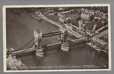 #AI3 - Aerial View Of Tower Bridge And The Tower Of London 1950 Postcard