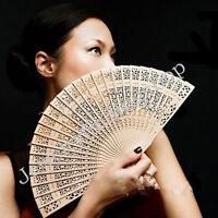 Vintage Folding Bamboo Original Wooden Carved Hand Fan Wedding Bridal Party AU