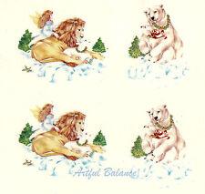 Ceramic Decals Angel Lion Polar Bear Christmas Holiday Winter Scenes 2 Designs