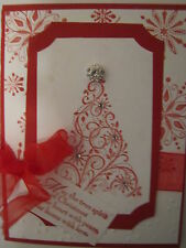 Red Snow Swirled Christmas Tree Handmade Card Kit with Some Stampin Up 4 cards