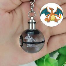 Portachiavi Crystal Ball Pokemon Pokeball Charizard 3D LED Luce Notturna Regalo