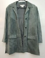 Jessica Holbrook GRAY Suede Leather Lined Washable Jacket Coat Medium EXCELLENT!
