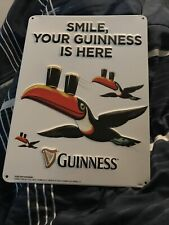 """Guinness Metal sign 8� X 11"""" """"Smile Your Guinness is Here"""""""