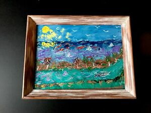 "12"" x 16"" Vintage Impasto Folk Art Oil Painting of Sailboats Fish Beach Framed"