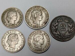 Switzerland Rappens coins bunch gap fillers - range from 1884-1946