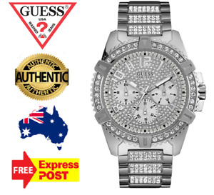 GUESS FRONTIER W0799G1 SILVER/CRYSTAL CHRONOGRAPH QUARTZ MENS WATCH NEW IN BOX
